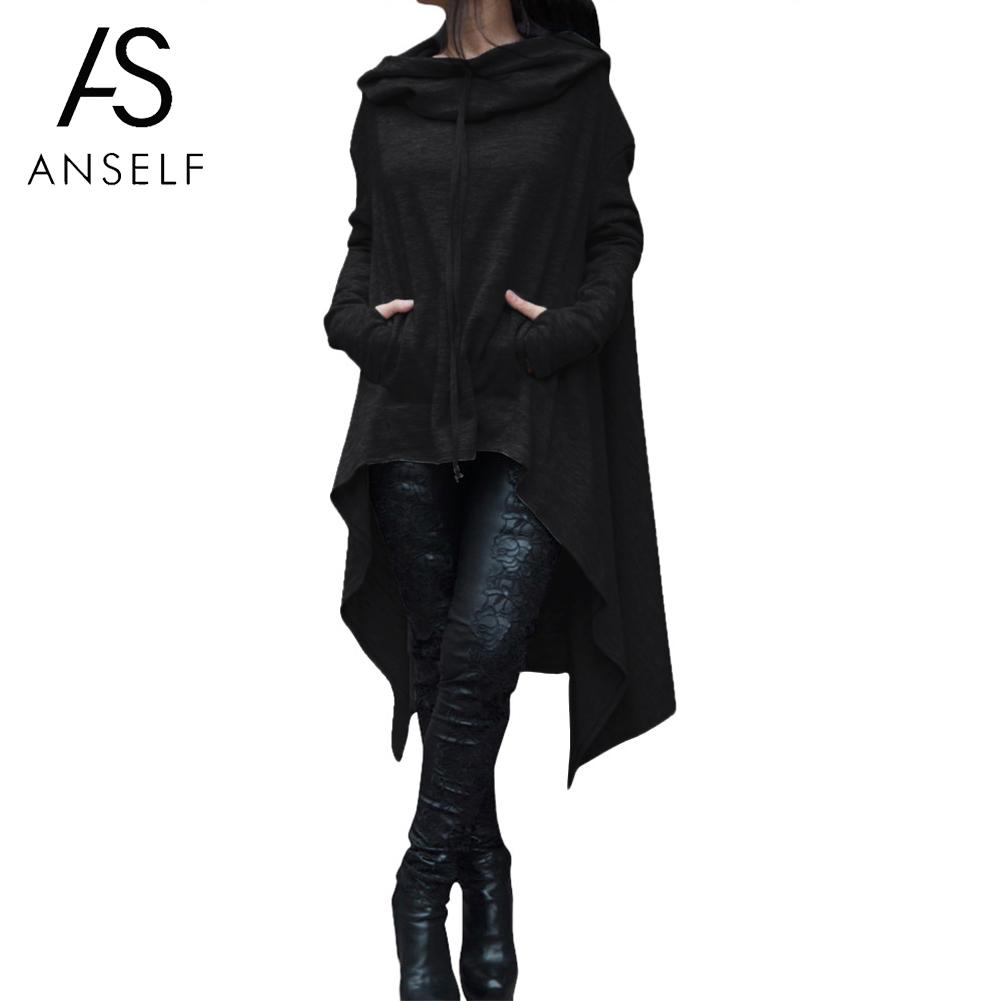 Anself Fashion Women Long Hoodies Hooded Neck Drawstring Asymmetric Sweat Femme Long Sleeves Pullover Casual Sweatshirt 2019
