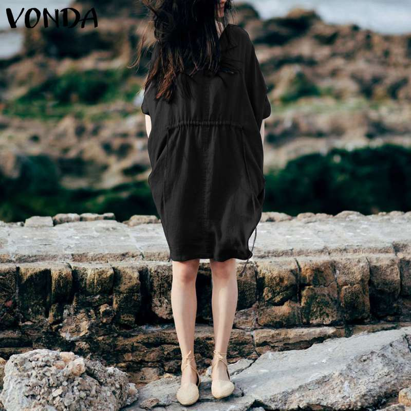 VONDA Brand Women Dress 2019 Summer Casual Loose Batwing Sleeve Lapel Neck Solid Mini Dresses Female Tunic Vestidos Plus Size