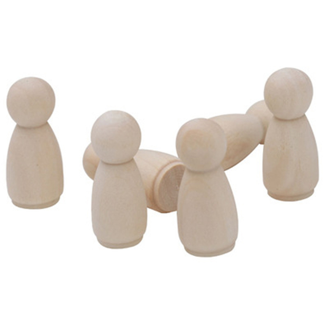 Personnes en bois dur massif 35mm de hauteur | Peinture ou chiffrage naturel, poupées artisanales en bois, 20 pièces