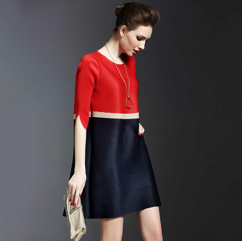 LANMREM 2019 весна лето плиссированные мини-платья для женщин контрастный цвет полосатый О-образный вырез свободная повседневная одежда с коротким рукавом NA957