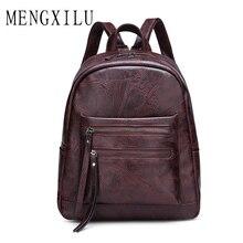 Купить с кэшбэком New Female Backpack High Quality Vintage Women's Backpack PU Leather School Bags New Fashion Girls Travel Bags Mochila Feminina