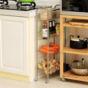 Image 3 - Orz 4一層フィーダーローリングトロリーカート収納オーガナイザーラックキッチン浴室の棚メタル食品収納バスケットスタンド重層ギャップ