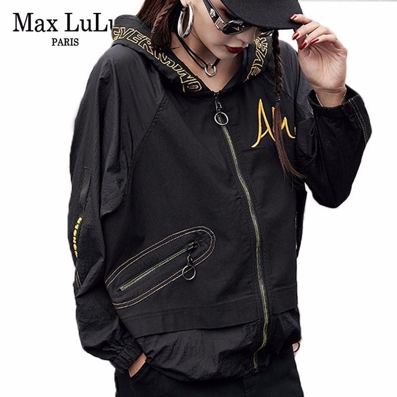 Max LuLu 2019 Fashion Korean Designer Ladies Punk Streetwear Womens Hooded Short Jacket Oversized Windbreaker Female