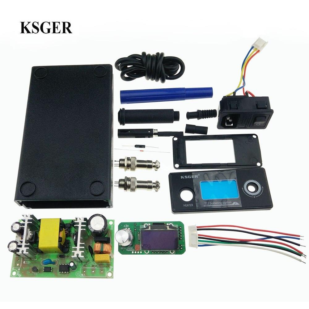 KSGER T12 V2 0 STM32 OLED Digital Soldering Station Controller 5 Core Silicone Wire Metal Case
