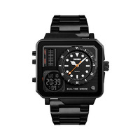 SKMEi Men'S Digital Watch Stainless Steel Strap Date Display Luminous Sports Timing Large Dial Electronic Watch 1392