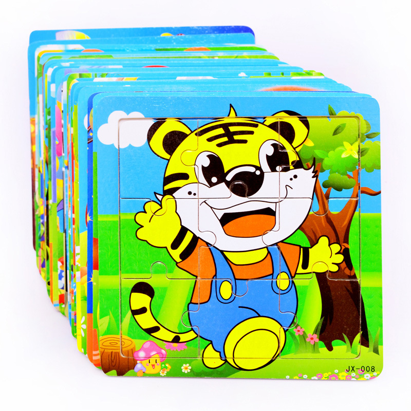 DDWE 9PCS Baby 3D Wooden Jigsaw Puzzles Toys Cartoon Animals Puzzles Kids Educational Toys For Children Gifts 1-5 Years