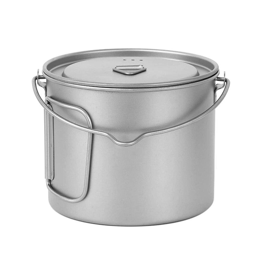 Lixada 1100ml Titanium Pot Ultralight Portable Hanging Pot Outdoor Titanium Cup Mug Pots Tableware Camping Cup