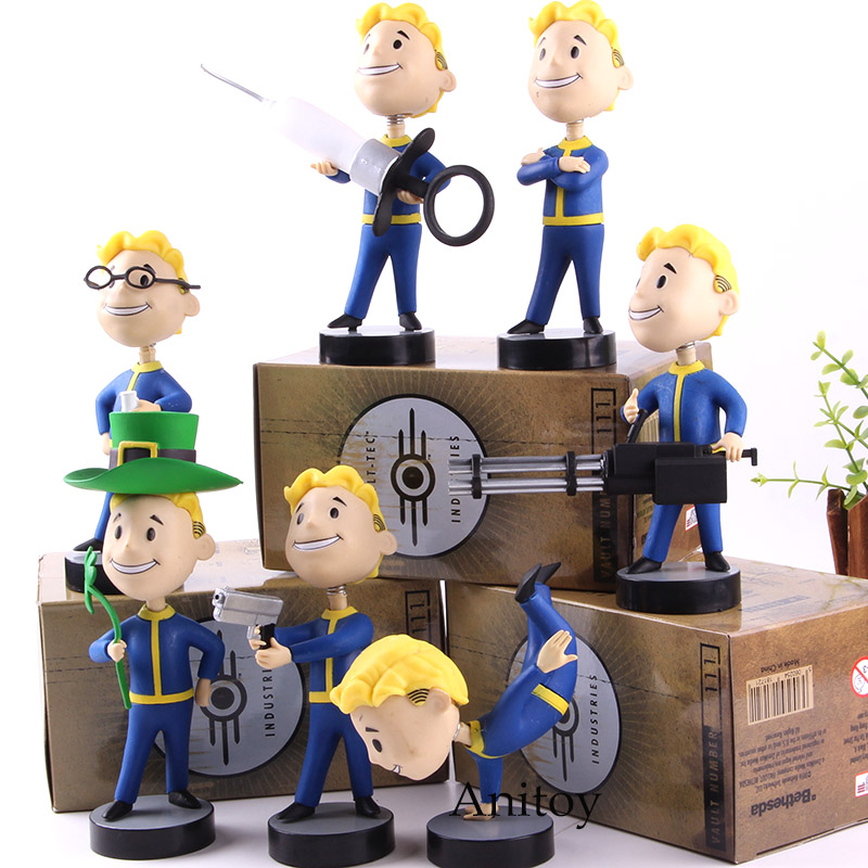 Fallout Vault Boy Figure Action Bobble Head PVC Collection Model Toys 7 Styles Gift For Kids