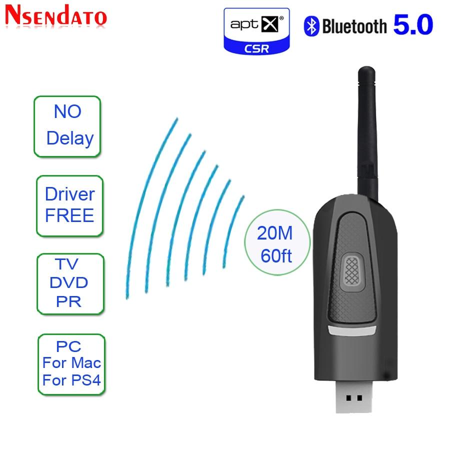 Adaptador de longa distância do transmissor de bluetooth v5.0 aptx baixa latência para o motorista da tevê usb 3.5mm adaptador de áudio sem fio para ps4 pc