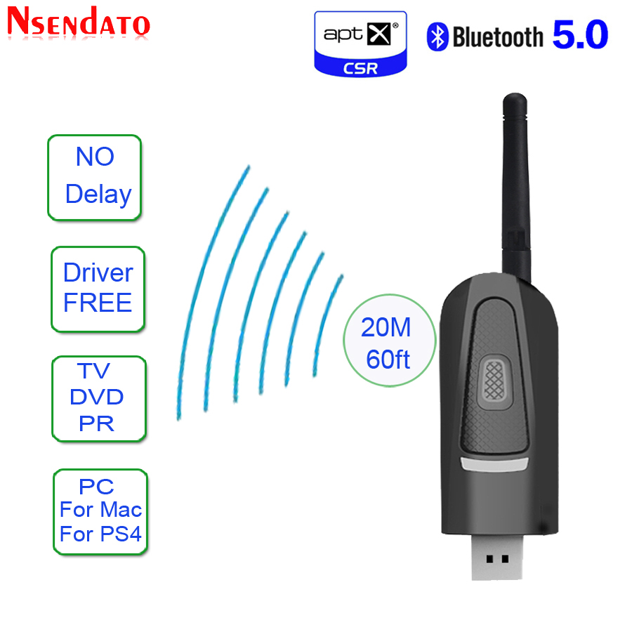 Long Range Bluetooth V5.0 Transmitter Adapter AptX Low Latency For TV Driver-Free USB 3.5mm Wireless Audio Adapter For PS4 PC