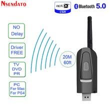 Uzun menzilli Bluetooth V5.0 verici adaptörü aptX düşük gecikme TV sürücüsüz USB 3.5mm kablosuz ses adaptörü için PS4 PC