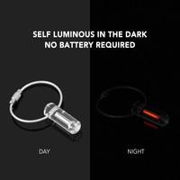EDC Tool Acrylic Automatic Luminous Tritium Key Ring Ultralight Night Self Glow Keychain Outdoor Survival Emergency Mini Lights