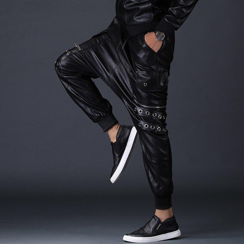 Baisse 2251 Punk High Moto Danse Street Entrejambe De Joggers Noir Personnalité En Pantalon Harem Faux Hommes Hop Parkour Cuir wHwrxq6
