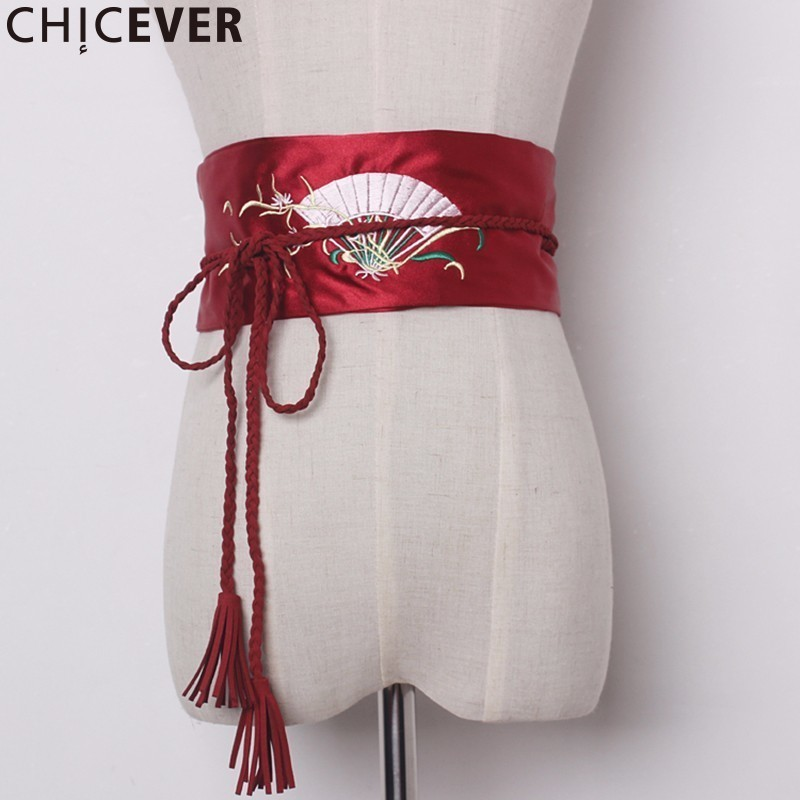 CHICEVER Embroidery Floral Tassel Female Belts For Women Cummerbunds Black Bandage Women's Belt Fashion New 2019
