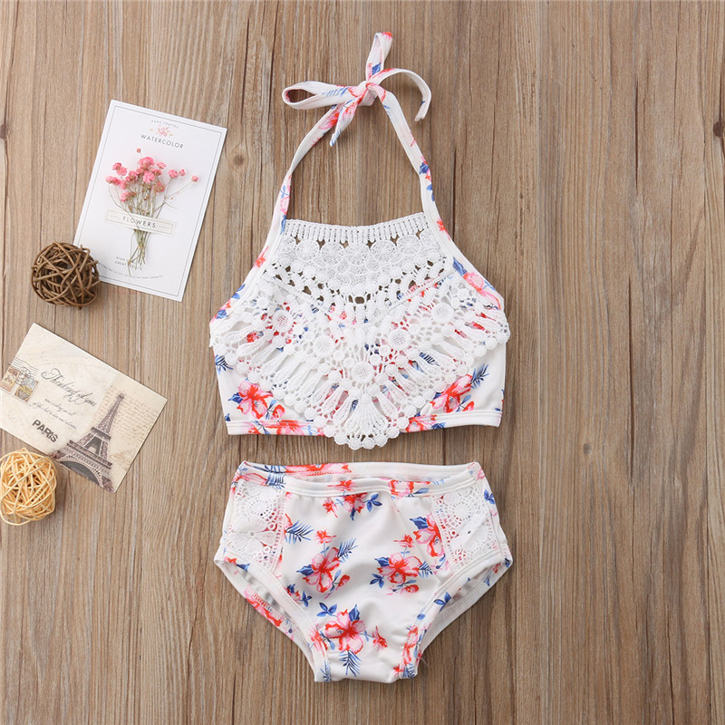 Baby Toddler Summer Clothes Swimwear for 1-5 Years Old Kids Two Piece Bikini Beach Shell Flower Swimsuit+Shorts