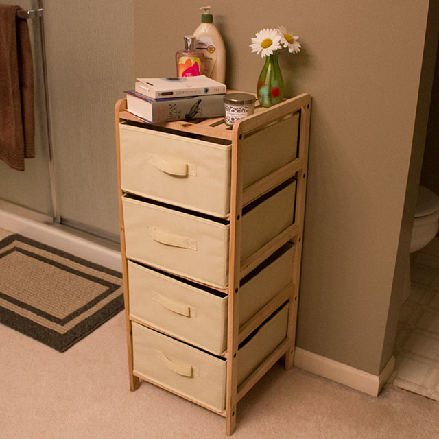 Lavish Home Organization Wood Fabric Four Drawer Unit with Shelf Top