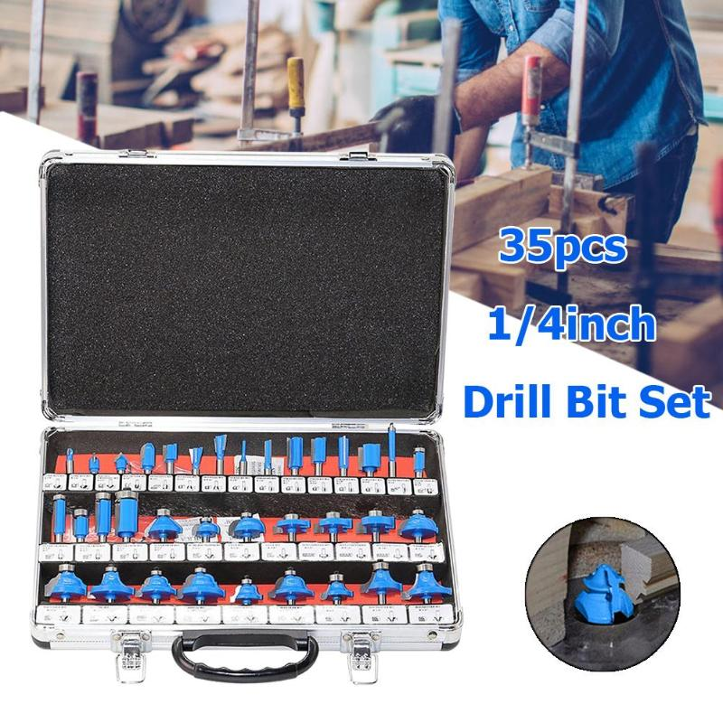 35pcs/set 1/4in Handle Router Bit Mill Engraving Woodworking Milling Cutter