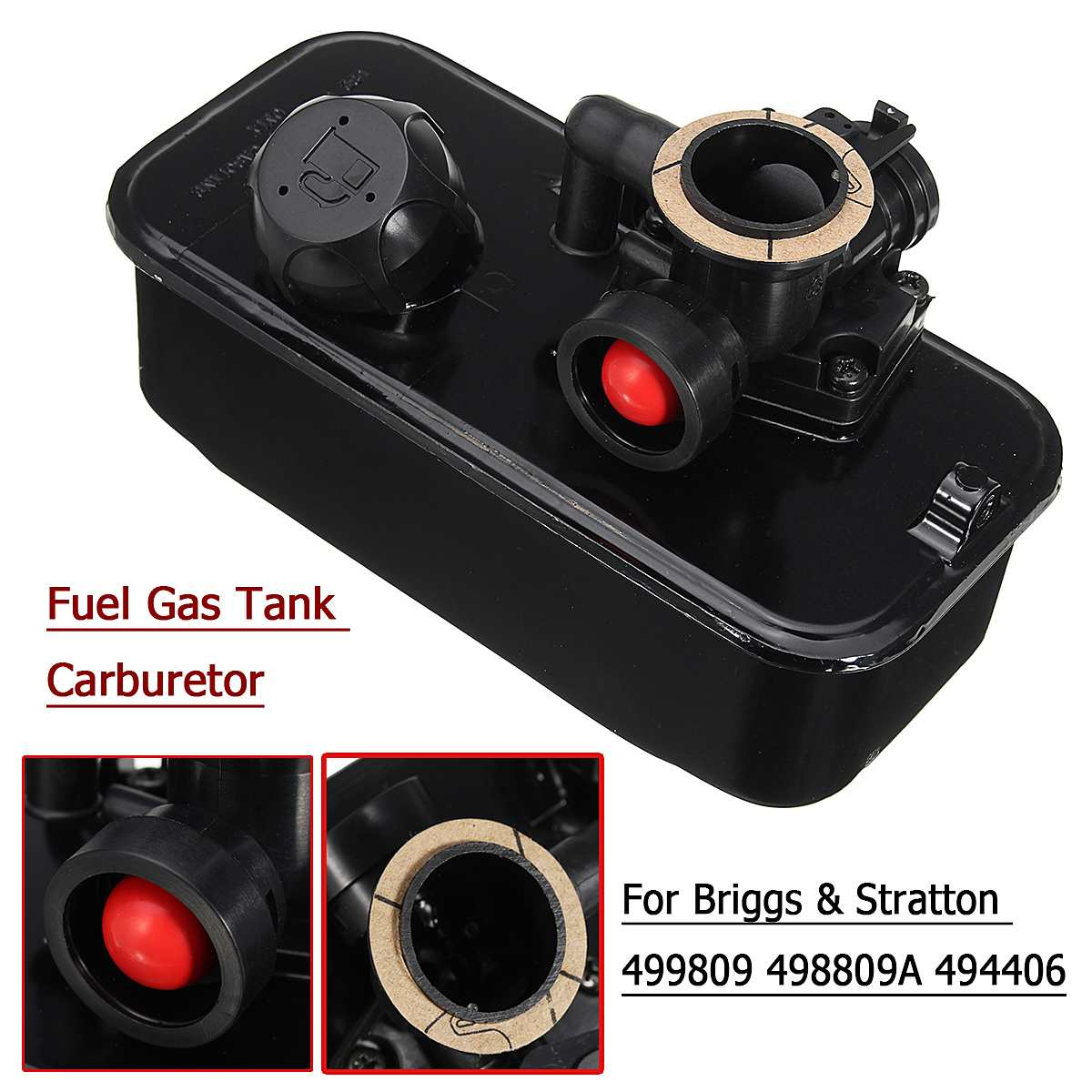 Serbatoio carburante Gas Falciatrice Carburatore Carb per Briggs & Stratton 499809 498809A 494406Serbatoio carburante Gas Falciatrice Carburatore Carb per Briggs & Stratton 499809 498809A 494406