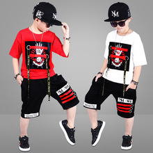 Boys suit summer 2019 new sports children's clothing cotton fashion printed short-sleeved shirt + pants
