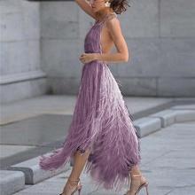 Sexy Tassel Backless Dress Fashion Halter WomenS Summer Elegant