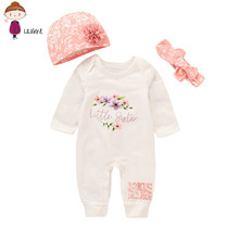 LILIGIRL Newborn Clothes  Spring Autumn Infant Baby Girls Boys Letter Print Romper Jumpsuit Animal Headband Outfits Set недорого