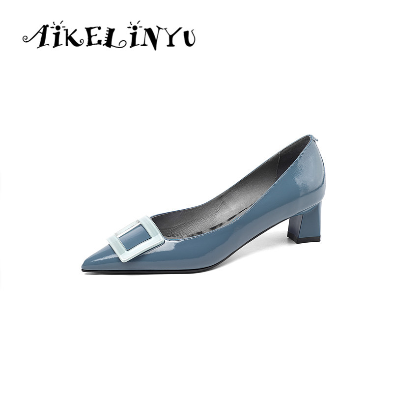 AIKELINYU Fashion Womens Pumps Genuine Leather Blue yellow Spring Shoes Sexy Pointed Toe Mature Office Lady Elegant Shoes PumpsAIKELINYU Fashion Womens Pumps Genuine Leather Blue yellow Spring Shoes Sexy Pointed Toe Mature Office Lady Elegant Shoes Pumps