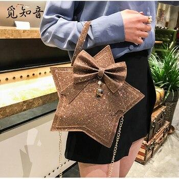 2019 damas de cinco puntas de la estrella de cuero de la Pu bolso de hombro de las mujeres Lolita bolso Harajuku Bowknot cadena mensajero Cruz cuerpo bolsa