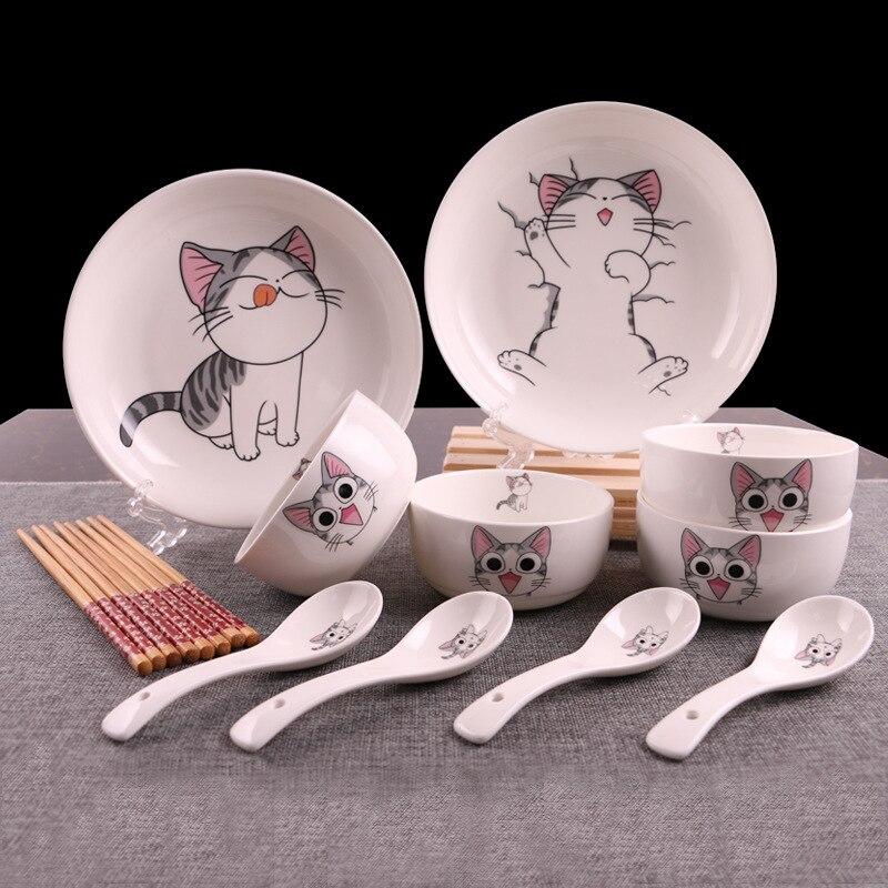 Vaisselle de table en céramique 14 pièces | Chat mignon, bol cuillère service à cadeaux, outils de cuisine, articles de table ménagers, services de table en porcelaine