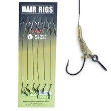 Carp Fishing Chod Rig 6pcs/set Black Bait Screw Coated Line Ready Tied Carp Rig Curve Shank Fishing Hooks Size 2# 4# 6# 8#