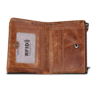 Image 4 - ATAXZOME Genuine Leather Wallet Mens Short Coin Purse Vintage Brand Anti magnetic RFID Wallets Natural Cowhide Mens Gift W3580