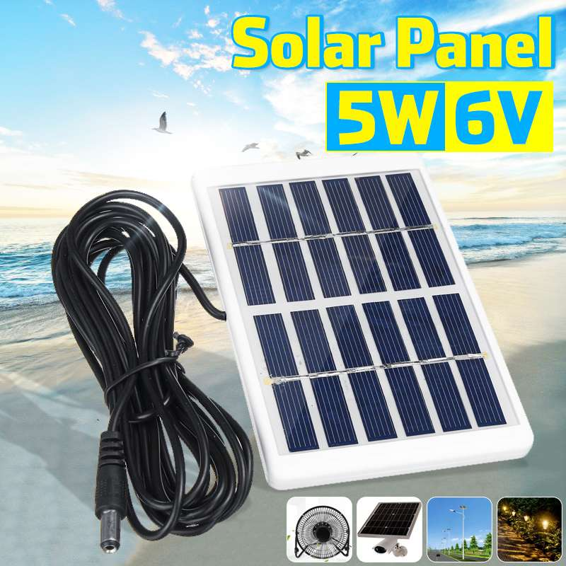 Portable 5W 6V Solar Panel Outdoor Solar Charger Panel 3 Meter Cable Climbing Fast Charger Polysilicon Tablet Solar Generator