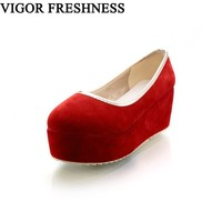 VIGOR FRESHNESS Platform Shoes Woman Pumps Wedge Heels Woman Shoes Spring Pumps Height Increasing Shoes Autumn Sweet MY108