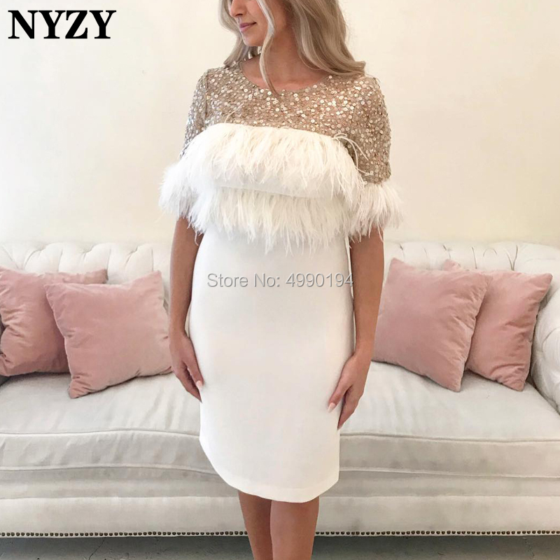 NYZY C96 Chic Robe Cocktail Feather Dress Half Sleeve Crystal Off White Evening Dress Short Vestido Coctel 2019