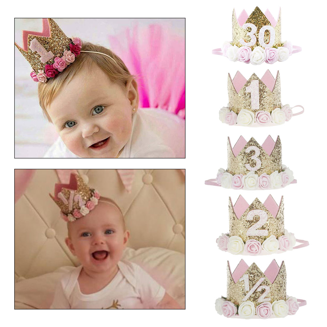 Party Cap Crown Headband 1 2 3 Year Number Priness Style Baby Girl First Birthday Decor Flower  Birthday Hat Baby Hair Accessory