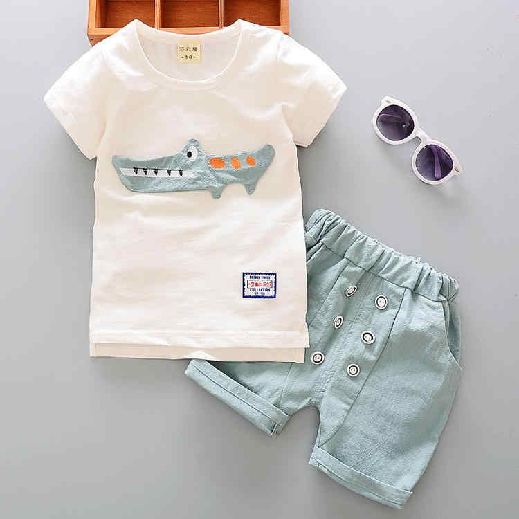 KRIATIV Yürümeye Başlayan Çocuk Kıyafet Erkek Bebek Set Üstleri + Şort Pantolon Elbise Karikatür Baskı Kollu T-shirt 2018 Yeni Yaz Çocuk giyim