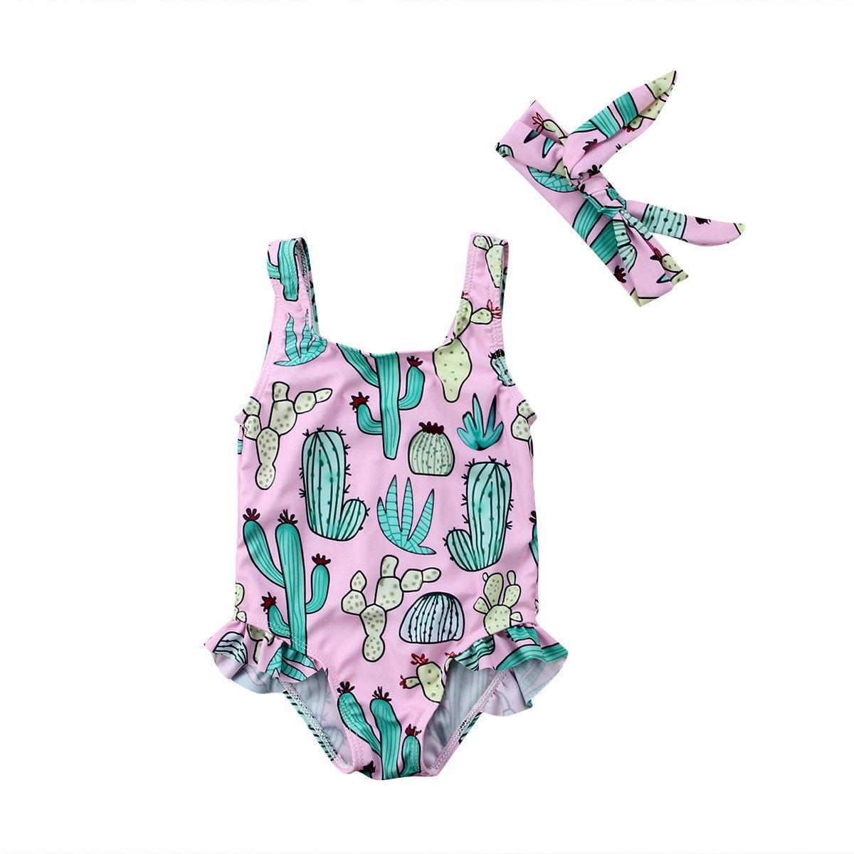 0-3y Pasgeboren Peuter Kids Baby Meisje Zomer Badpak Cactus Print Badmode Beachwear Romper Hoofdband 2 Stks Infantil Meisjes Kleding