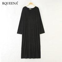 Rqueena 2019 Korean Style Women's Dresses Loose Tshirt Dress Summer V Neck Long Sleeve Black Long T Shirt Dress For Women TD009