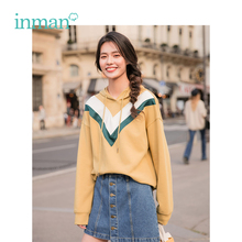 INMAN Spring Hooded Drawstring V Pattern Print Causal Loose Style Women Fashion Girl Sweatshirt
