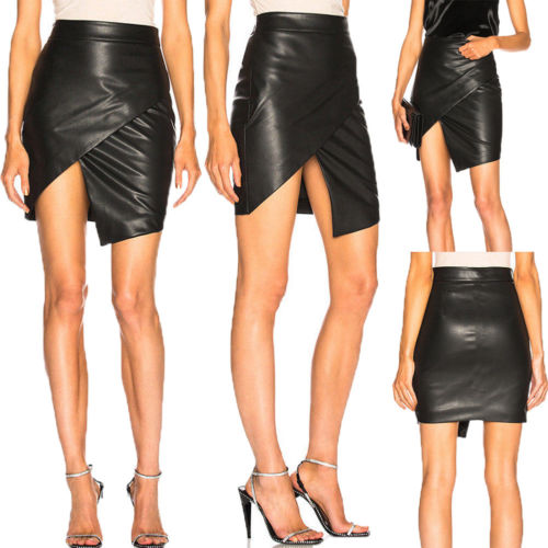 2019 Womens Sexy PU Leather High Waist Skirt Straight Package Hip Pencil Skirt Black New