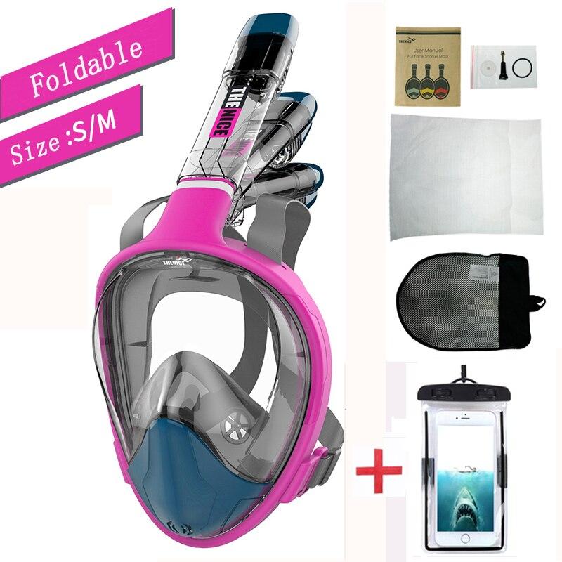Plein Visage masque de snorkeling Professionnel Pliage Anti-Buée Masque Pour Respirer Sous L'eau masque de plongée en apnée matériel de plongée sous-marine