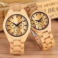 Деревянные часы из натурального бамбука без букв  минималистичные деревянные часы  Элегантный Деревянный ремешок  пара часов  мужские и жен...