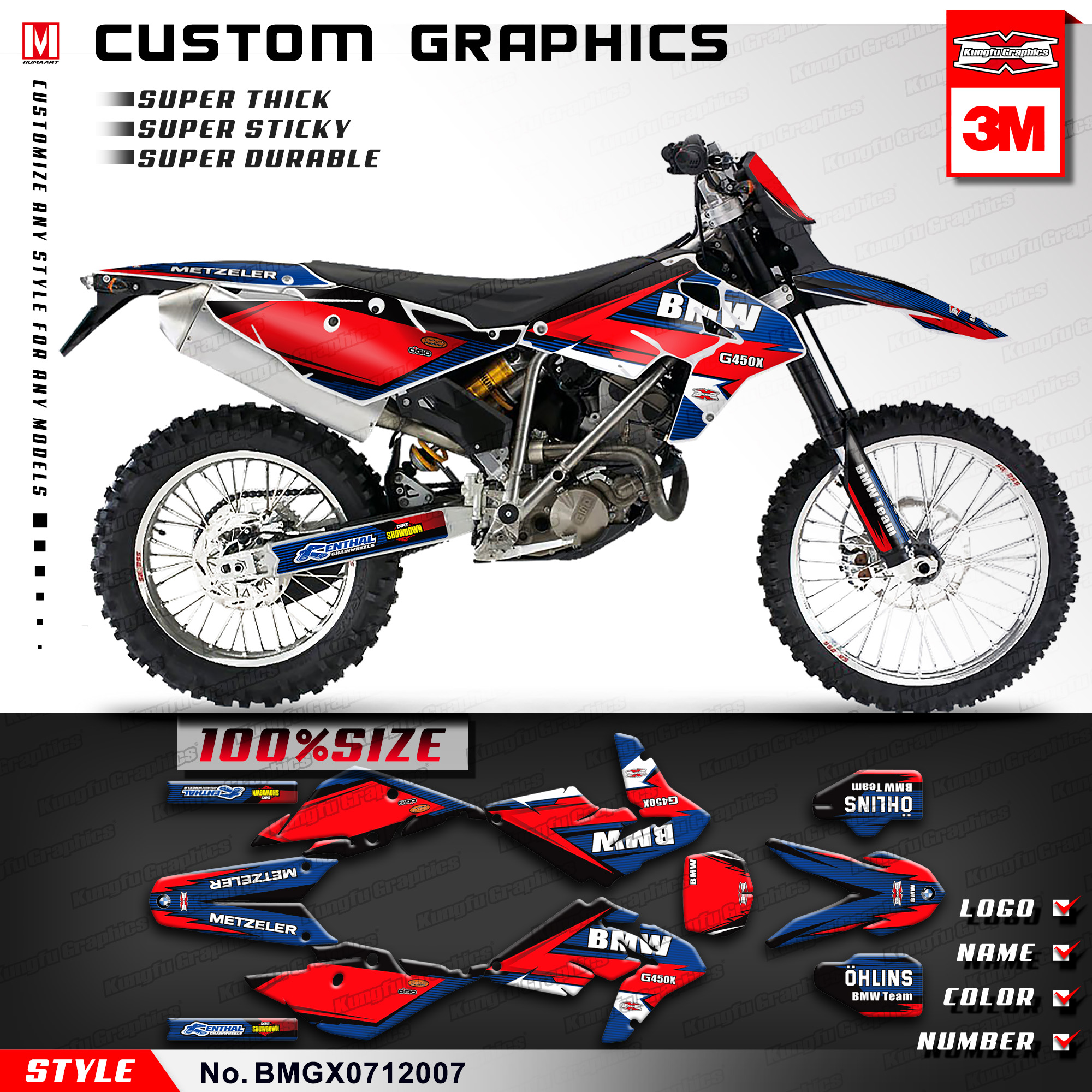 KUNGFU GRAPHICS Racing Decals Vinyl Wrap Sticker Kit for BMW