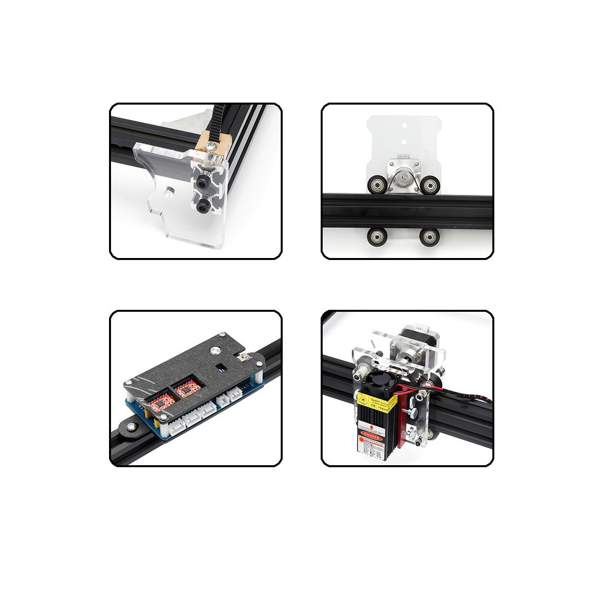 12V Mini 5500mW 65*55cm bleu CNC Machine de gravure Laser 2 axes bricolage maison graveur bureau bois routeur/Cutter/imprimante Machine-outil - 5