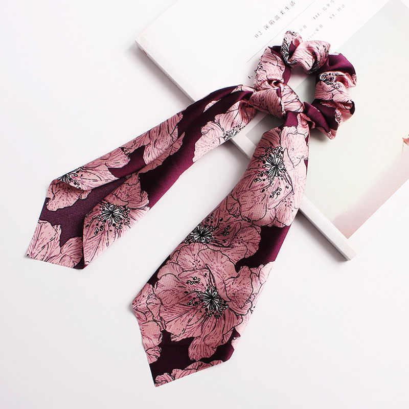 Регулируемый цветочный конский хвост с принтом, 1 шт., 40 цветов, женские эластичные аксессуары для волос, веревка для волос, ткань с изображением животных для девочек