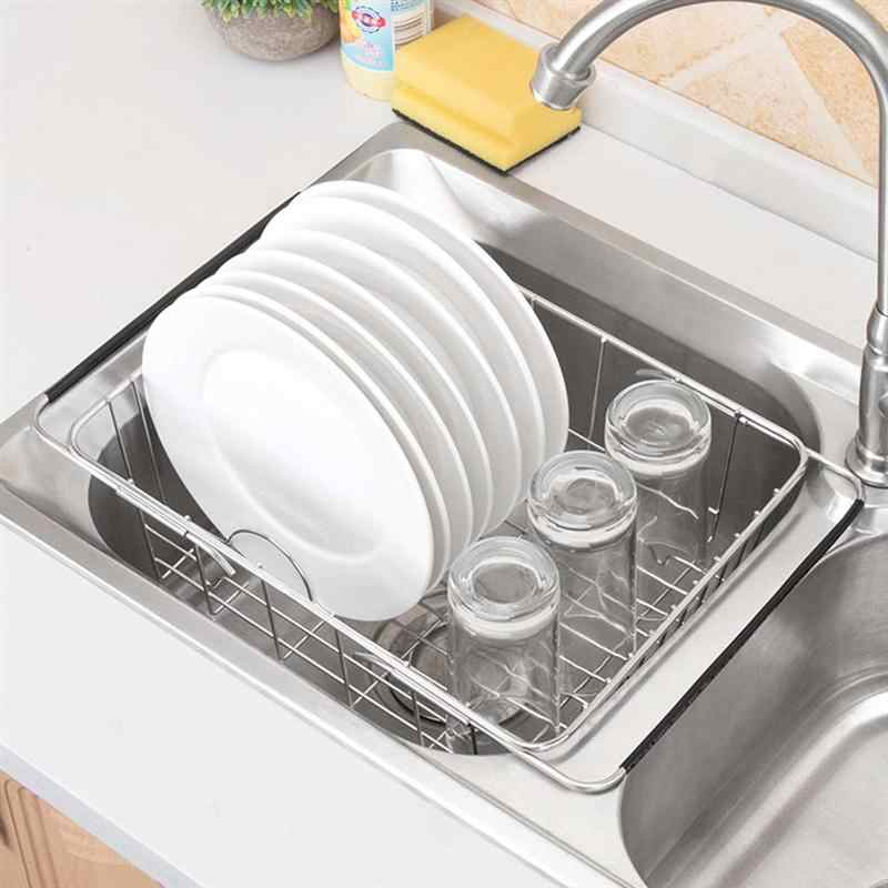 Stainless Steel Sink Drain Basket Expandable Dish Drying Rack Rustproof Drainer Kitchen Utensil