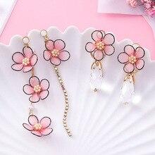 Sweet Pink Fabric Lace Cherry Flower Long Rhinestone Tassel Crystal Drop Earrings For Women Wedding Charm Jewelry Pendientes