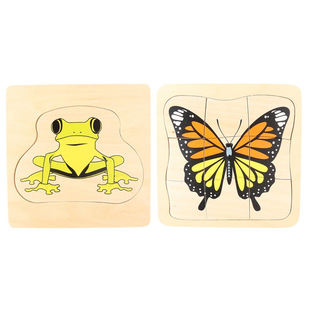Montessori matériel en bois grenouille et papillon croissance Puzzle Parent-enfant Communication jeu de formation pour enfants enfants - 3