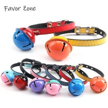 Bell Dog Collar PU Leather For Cat Adjustable Colorful Puppy kittens Collars in Choker Necklace Small Pet Product