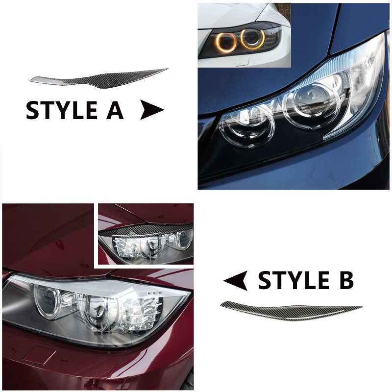 For BMW 3 Series E90 2005  2007 2008 2009 2010 2011 2012 2pcs Carbon Fiber Car Headlamp Headlights Eyebrows Eyelids Bumper Cover