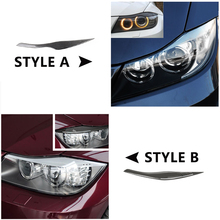 For BMW 3 Series E90 2005 -2007 2008 2009 2010 2011 2012 2pcs Carbon Fiber Car Headlamp Headlights Eyebrows Eyelids Bumper Cover